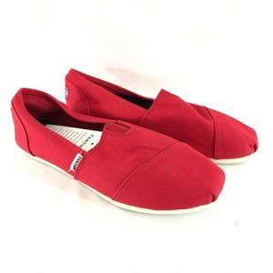 Fantiny Womens Espadrille Flats Slip On Canvas Red
